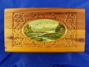 Antique Cedar Box W Decoupage Great Condition Carved Top