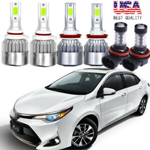 6x Cob Led Hi Lo Beam Headlight fog Light Blue 8000k For Toyota Camry 2007 2014