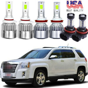 6x Cob Led Hi Lo Beam Headlight fog Light Blue 8000k For Gmc Terrain 2010 2015