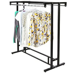 Stainless Steel Double Rod Hangrail Department Store Style Clothes display Rack