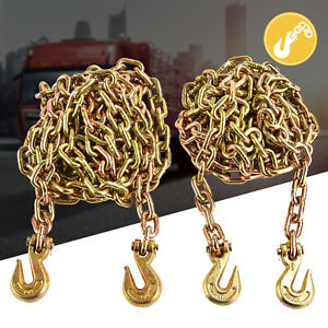 2 Pack 3 8 X 20 G70 Tow Chain Tie Down Binder With Hooks Trailer Flatbed Truck