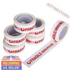 18 Rolls Fragile Handle With Care Carton Sealing Packing Tape 2 x110 Yd 2mil