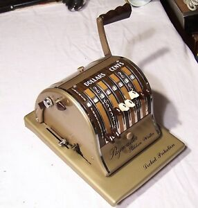 Vintage Paymaster Series 8000b Check Writer Stamping Machine Gold W Cover