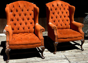 Wingback Chairs Vintage Queen Anne Tufted Studded 2 For Renovation Re Upholster