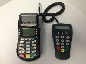 Hypercom Optimum T4220 Credit Card Processing Terminal Machine W p1300 Pin Pad