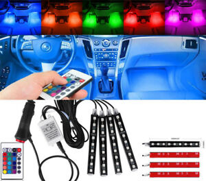 Us Rgb Colored Led Glow Interior Car Kit Under Dash Foot Floor Seat Accent Light
