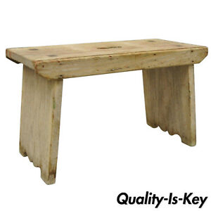 Small Antique Pine Wood French Country Primitive Distressed Step Stool W Handle