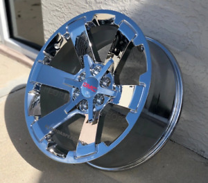 New Triple Chrome Chevy Silverado Gmc Sierra Rally Truck Wheels 22x9 Set