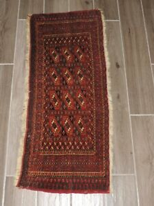 18 X 42 Antique Torba Turkoman Tekke Wool Rug