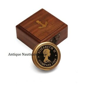 Vintage Inspired Pocket Brass Compass With Wooden Display Box