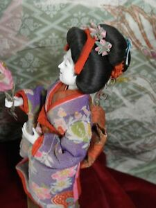 Stunning Early Geisha Open Mouth Hi Sheen Gofun Kanzashi Silk Crepe Kimono Exc