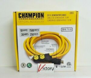 New Champion Power Equipment 25 Ft Generator Cable 250 Volt 30 Amp 48043