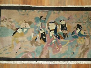 Vintage Chinese Peking Pictorial Immortal Rug Size 5 5 X3