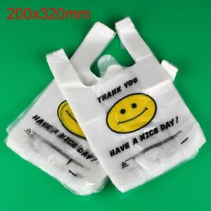 100 200 500 1000pcs White Plastic Shopping Bags Carry Out Retail Market Grocery