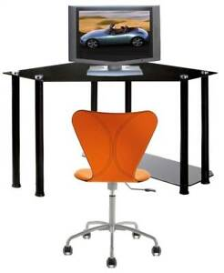Corner Computer Desk With Black Glass Top And Cpu Shelf id 8839
