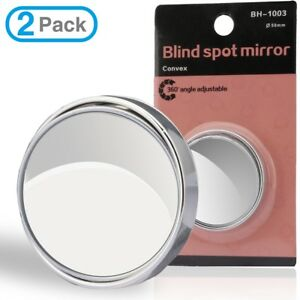 1 Pair Stick On Round Car Rear View Convex Mirror Hd Glass Adhesive Auto Side