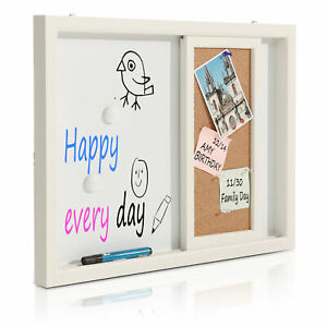 2 in 1 Wood Framed Wall Mounted Message Center W erasable Magnetic Whiteboard