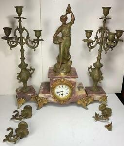 3 Pc Spelter Marble French 22 Clock Candelabra Set Paris As Is Parts
