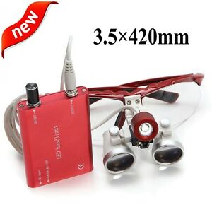 Usa Red Dental Loupes 3 5x 420mm Surgical Medical Binocular Led Head Light Lamp
