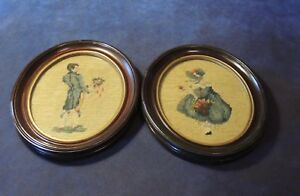 Pair Of Framed Antique Victorian Petit Point Needlepoint Lady Gentleman