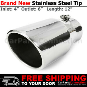 Universal Truck Angled Polished 12in Bolt On Exhaust Tip 4 In 6 Out Rolled Edge