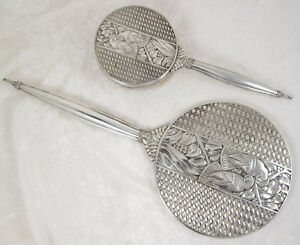Vintage Napier Sterling Silver Art Deco Hand Mirror Brush Set 14 3 4 Inches
