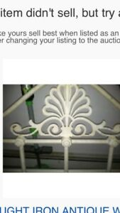 Antique White Canopy Wrought Iron Full Size Bed