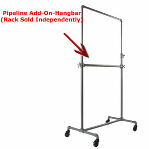 Add On Bar For Pipe Clothing Display Rack Grey