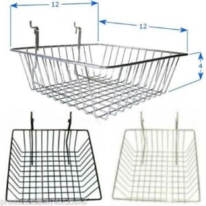Pack Of 6 12 w X 12 l X 4 d Gridwall Baskets Black White Or Chrome