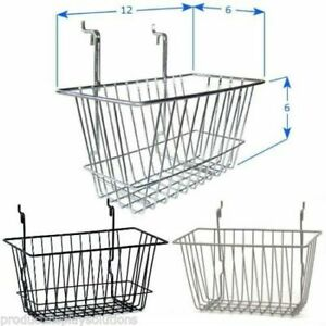Pack Of 6 12 w X 6 l X 6 d Gridwall Baskets Black White Or Chrome