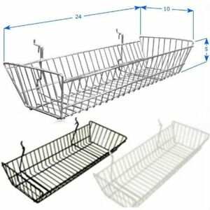 Pack Of 6 24 l X 10 w X 5 d Slatwall Baskets Black White Or Chrome