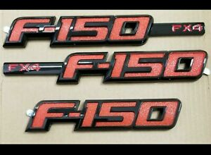 Ford F150 Fx4 2009 2014 Red Black Emblem 3 Pcs Kit For Fender Tailgate New