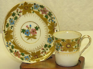 Demitasse Cup Saucer Set Painted Floral Gold Royal Vienna Josef Riedl Beehive