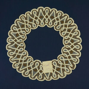 Antique Large Lace Collar Coil Ribbon Cord Orignal Tag Bsr 16 5 Circle Nice