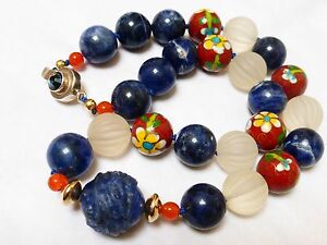 Chinese Vintage Carved Blue Lapis Crystal Cloisonne Bead Necklace Silver Clasp