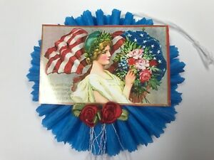 July 4th Uncle Sam Gift Tags Chenille Feather Tree Ornaments Item 15