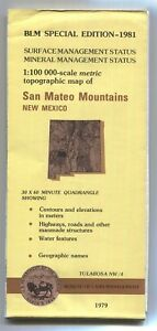 Usgs Blm Edition Topo Map New Mexico San Mateo Mountains 1981 Tularosa Nw 4 Mine