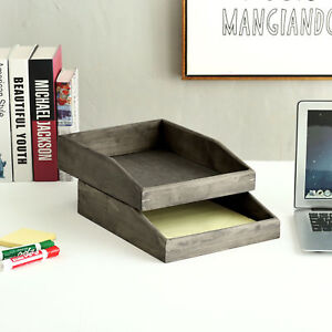 Set Of 2 Barnwood Gray Wooden Stackable Document Paper Trays