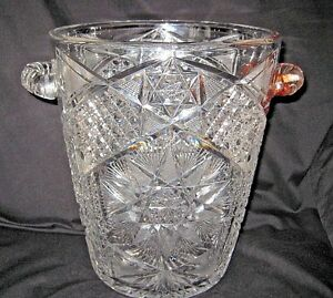 Antique Rare 1918 American Brilliant Cut Glass Wine Cooler Ice Bucket Meriden