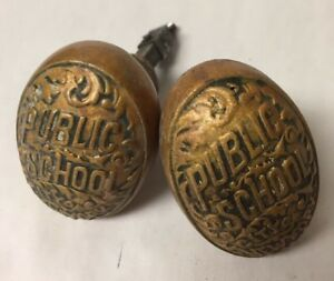 Lot Of 2 Vintage City Of New York Public School Ornate Brass Knobs