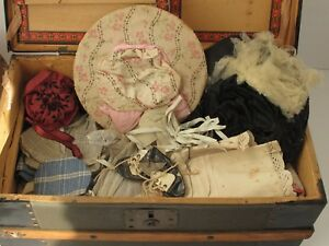 Antique Wood Doll Trunk Lift Out Tray And Doll Clothes C 1900