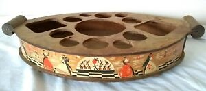 Vtg Barware Cocktail Art Deco Tray Wood Bar Old Carrier Waltz Big Band Dancing