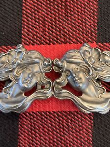 Rare Art Nouveau Sterling Silver Lady Face Buckle Kerr Perfect