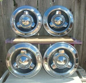 Set Of 4 1965 Dodge Polara 14 Hubcaps Plus Tri Spinners Vintage Cool