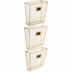 Wall mounted Gold tone Metal Chicken Wire Magazine File Folder Set Of 3
