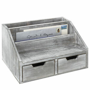 Gray Whitewashed Wood Desktop Document Mail Organizer With 2 Slide out Drawers