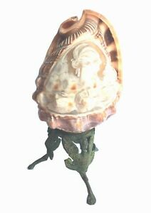 Shell Table Lamp Engraved Gem Lady Portrait With Bronze Base C 1930