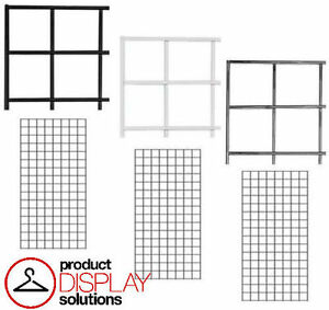 Pack Of 3 2 ft X 4 ft Gridwall Panels Black White Or Chrome