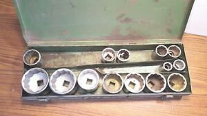 Lot Of 14 Assorted Size 3 4 Drive Standard Sockets 2 1 2 To 3 4