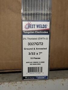 10pks 100 Electrode Tig Welding Tungsten Electrode 2 Thoriated red 3 32 x7
